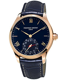 Frederique Constant Men's Swiss Horological Quartz Blue Leather Strap Smart Watch 42mm