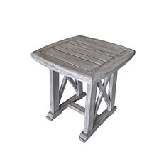 Courtyard Casual Driftwood Teak Surf Side Outdoor Side Table