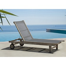 Courtyard Casual Driftwood Teak Contemporary Deck Side Outdoor Sling Lounge Chair