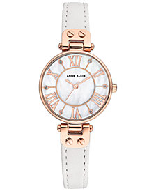 Anne Klein Women's White Leather Strap Watch 30mm