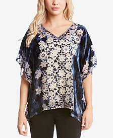 Karen Kane Burnout-Velvet Printed Top