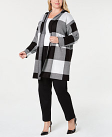 Calvin Klein Plus Size Open-Front Checkered Jacket