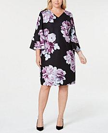 Calvin Klein Printed Flared-Sleeve Sheath Dress