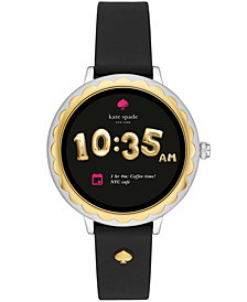 kate spade new york womens scallop black silicone strap touchscreen smart watch 41mm