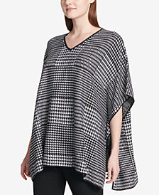 Calvin Klein Printed Poncho Sweater