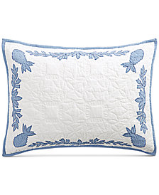 Martha Stewart Collection Aloha Blue Cotton Reversible Standard Sham, Created for Macy's