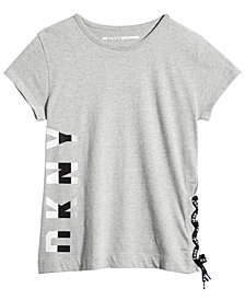 DKNY Big Girls Lace-Up Graphic-Print T-Shirt