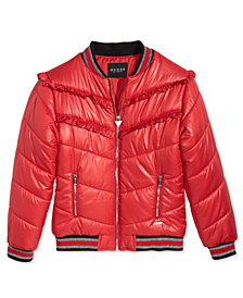 GUESS Big Girls Ruffle-Trim Puff Jacket