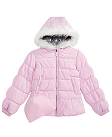 Weathertamer Toddler Girls Quilted Puffer Jacket & Matching Hat