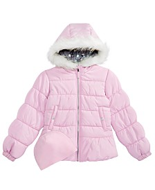 a494316046f7 Weathertamer Little Girls Quilted Puffer Jacket   Matching Hat