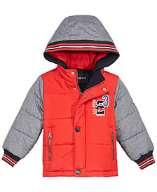 London Fog Toddler Boys Hooded Varsity Puffer Jacket