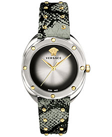 Versace Women's Swiss Shadov Black & Silver-Tone Elaphe Leather Strap Watch 38mm