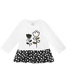 First Impressions Toddler Girls Black & White Dotty Cotton Peplum Tunic, Created for Macy's