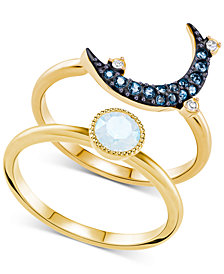 Swarovski Two-Tone 2-Pc. Set Crystal & Moon Rings