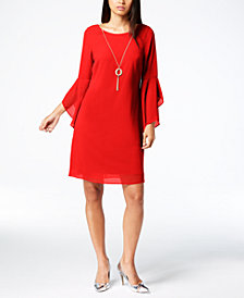 Thalia Sodi Bell-Sleeve Shift Dress with Necklace, Created for Macy's
