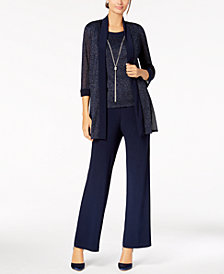 R & M Richards Metallic Pantsuit, Shell & Necklace Set