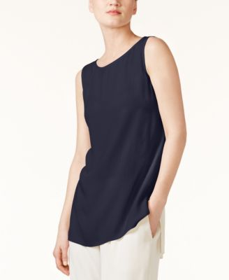 710e948f955 Eileen Fisher Bateau-Neck Silk Georgette Crepe Shell