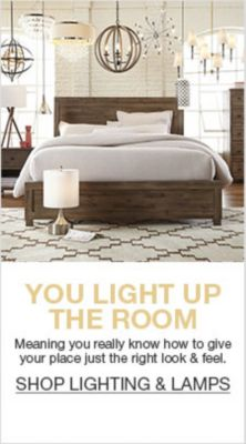 You Light up The Room, Meaning you really know how to give your place just the right look and feel, Shop Lighting and Lamps