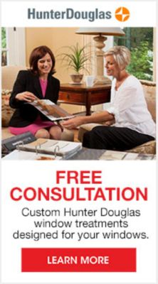 Hunter Douglas, Free Consultation, Custom Hunter Douglas window treatments designed for you windows, Learn More