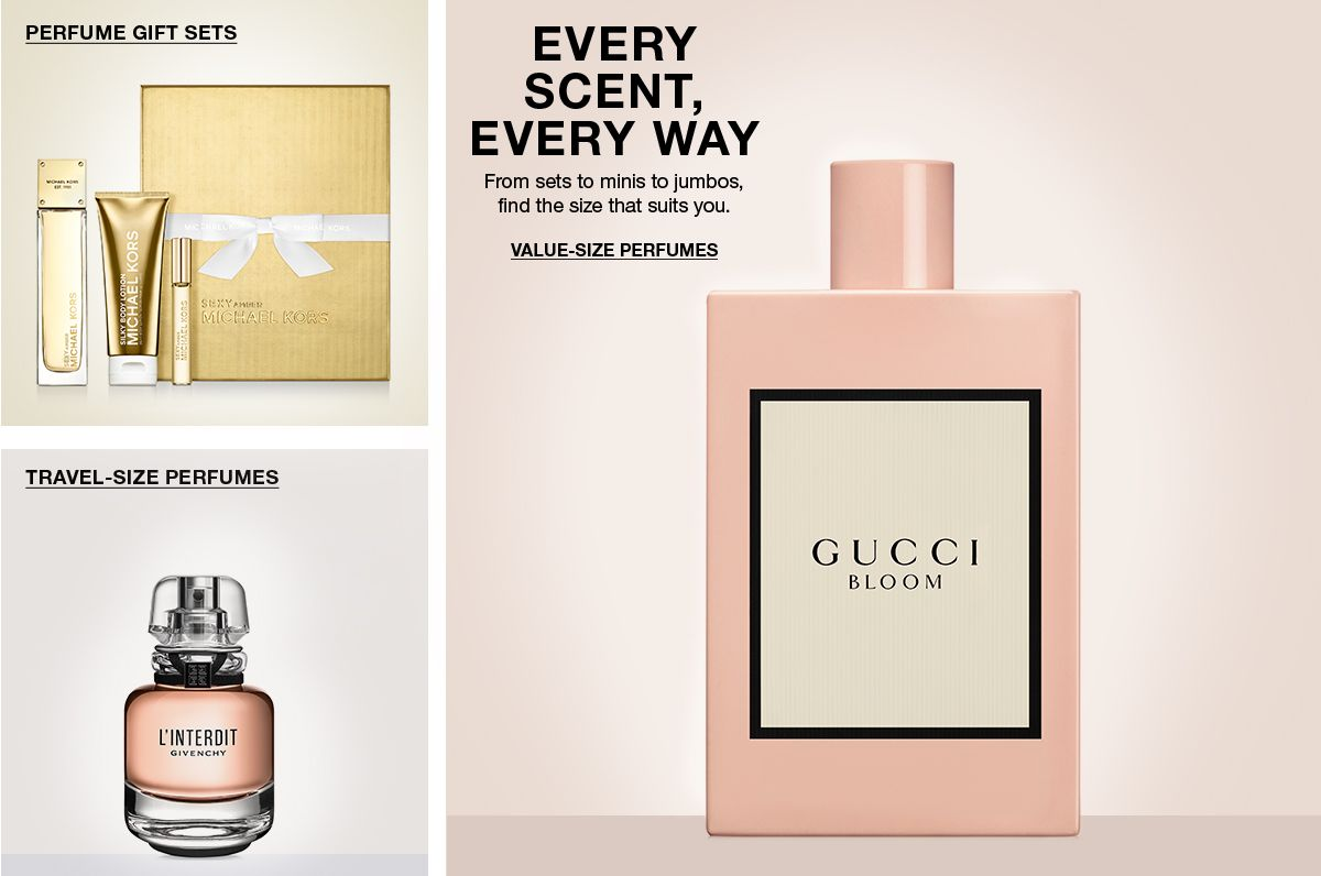 Perfume Gift Sets, Travel-Size Perfumes, Every Scent, Every Way, From sets to minis to jumbos, find the size that suits you, Value-Size Perfumes