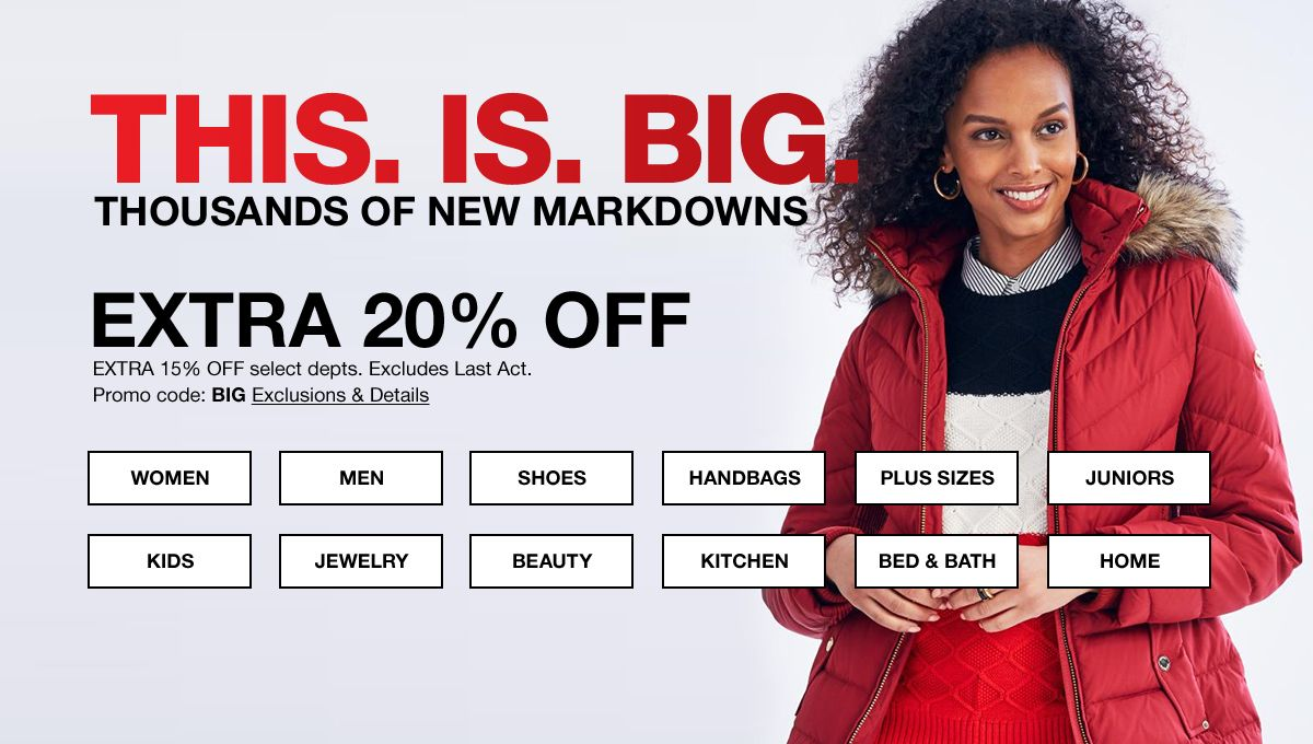 This, is, Big, Thousands of New markdowns, Extra 20 percent Off,