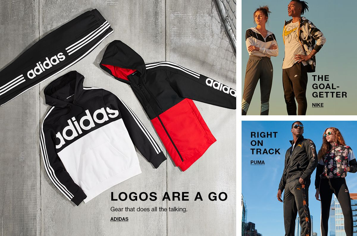 Logos are a go, Gear that does all the talking, Adidas, the Goal Getter, Nike, Right on Track, Puma