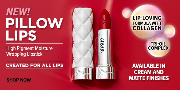 New Pillow Lips, High Pigment Moisture wrapping Lipstick, Created For All Lips, Shop Now, Lip-Loving Formula with Collagen, Tri-oil Complex, Available in Cream and Matte Finishes