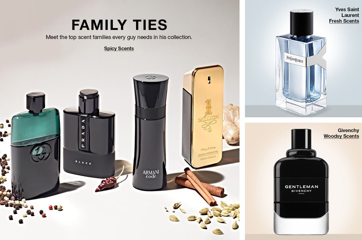 Family Ties, Meet the top scent families every guy needs in his collection, Spicy Scents Yves Saint Laurent Fresh Scents, Givenchy Woodsy Scents