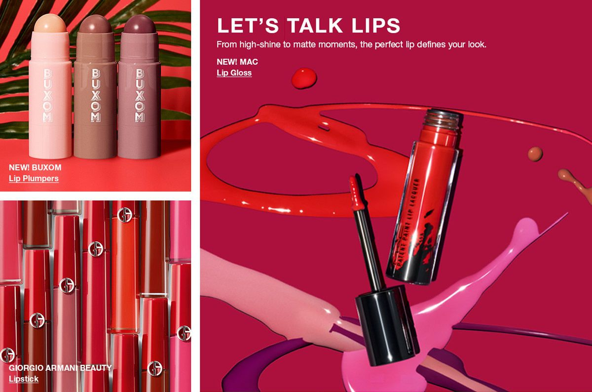 New! Buxom, Lip Plumpers, Giorgio Armani Beauty, Lipstick Let's Talk Lips, New! Mac, Lip Gloss