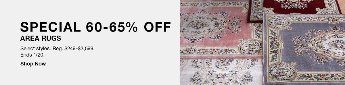 Special 60-65% Off, Area Rugs, Select styles, Ends 1/20