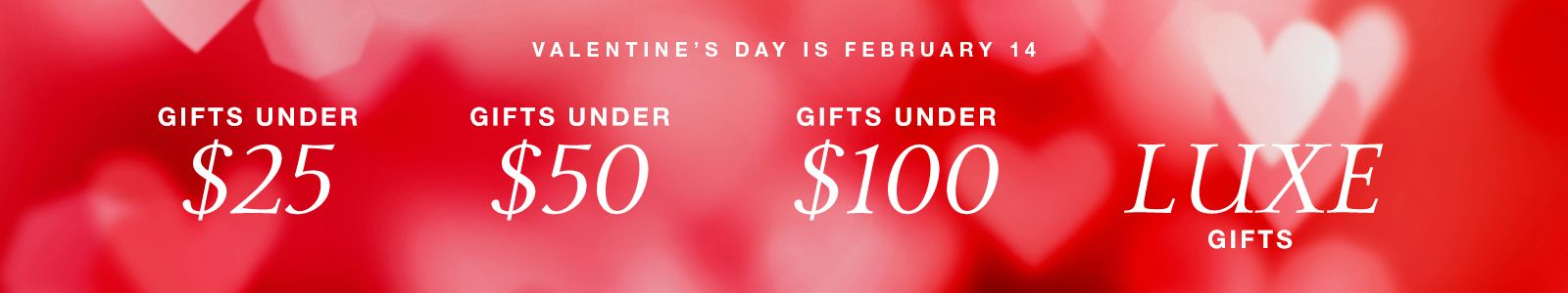 Valentine's Day is February 14, Gifts Under $25, Gifts Under $50, Gifts Under $100, Luxe Gifts