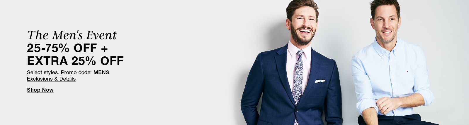 The Men's Event 25-75% Off + Extra 25 % Off,  Shop Now
