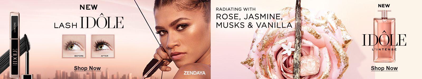 New Lash Idole, Shop Now, Radiating with, Rose, Jasmine, Musks and Vanilla, New Idole, Shop Now