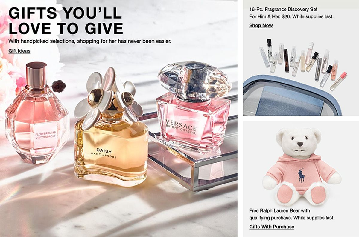 Gifts You'll Love to Give, Gift Ideas, 16-Pc, Fragrance Discovery Set for Him and Her, $20, While Supplies last, Shop Now, Free Ralph Lauren Bear with qualifying purchase, While supplies last, Gifts With Purchase