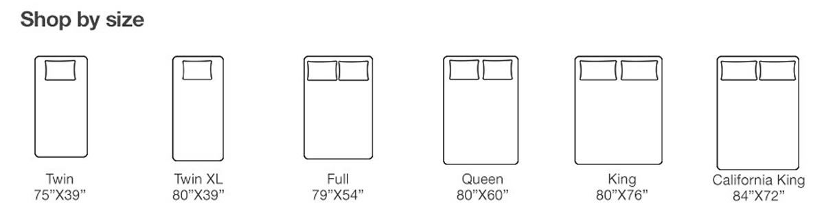 "Shop by Size, Twin 75""x39"", Twin XL 80""x39"", Full 79""x54"", Queen 80""x60"", King 80""x76"", California King 84""x72"""