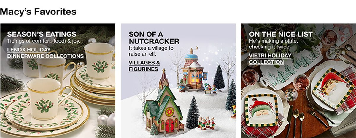 Macy's Favorites, Season's Eatings, Lenox Holiday Dinnerware Collections, Son of a Nutcracker, Villages and Figurines, On The Nice List, Vietri Holiday Collection
