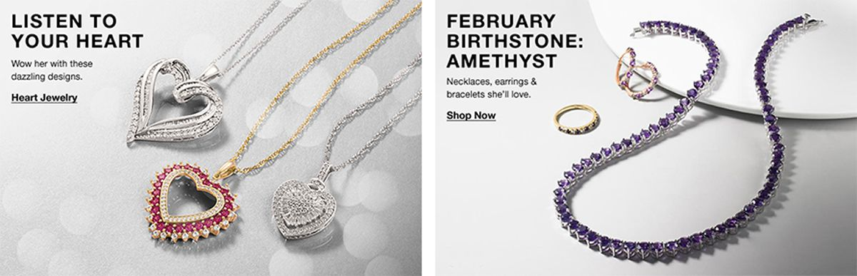 Listen to Your Heart, Wow her with these dazzling designs, Heart Jewelry, February Birthstone: Amethyst, Necklaces, earrings and bracelets she'll love, Shop Now