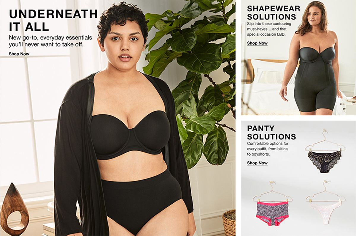 Underneath it All, New go-to, everyday essentials you'll never want to take off, Shop Now, Shapewear Solutions, Shop Now, Panty Solutions, Shop Now