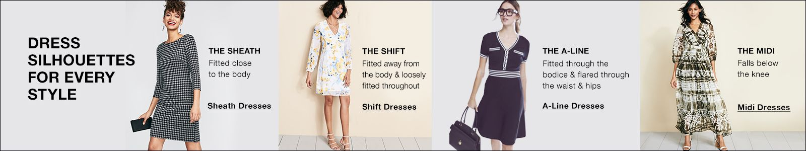 Dress Silhouettes For Every Style, The Sheath, The Shift, The a-Line, The Midi