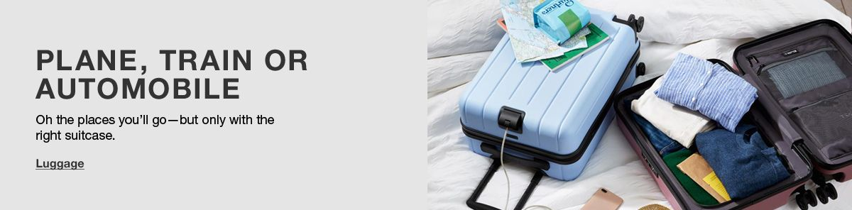 Plane, Train or Automobile, Oh the places you'll go-but only with the right suitcase, Luggage