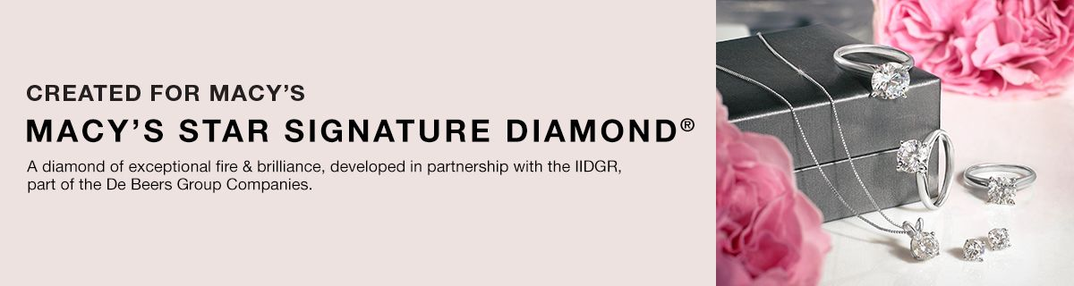 Created for Macys, Macy's Star Signature Diamond, a diamond of exceptional file and brilliance in partnership with IIDGER, part of the Dee Beers Group Companies