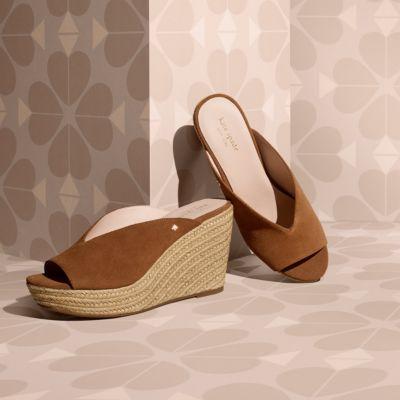 Intelligent Kate Spade Wedges Heels 8 8.5 Peep Toe Slingback Brown 2019 Latest Style Online Sale 50% Intimates & Sleep