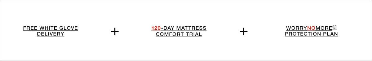 Free White Glove Delivery + 120-Day Mattress Comfort Trial + Worrynomore protection Plan