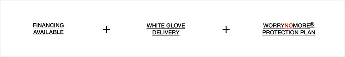 Financing Available + White Glove Delivery + Worrynomore Protection Plan