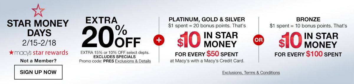 Star Money Days, Macy's Star Rewards, Not a Member? Sign up Now,