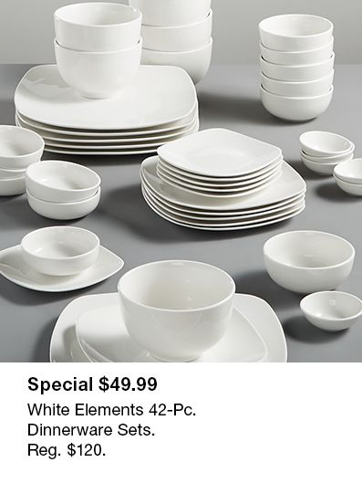 Special $49.99, White Elements 42-Piece Dinnerware Sets