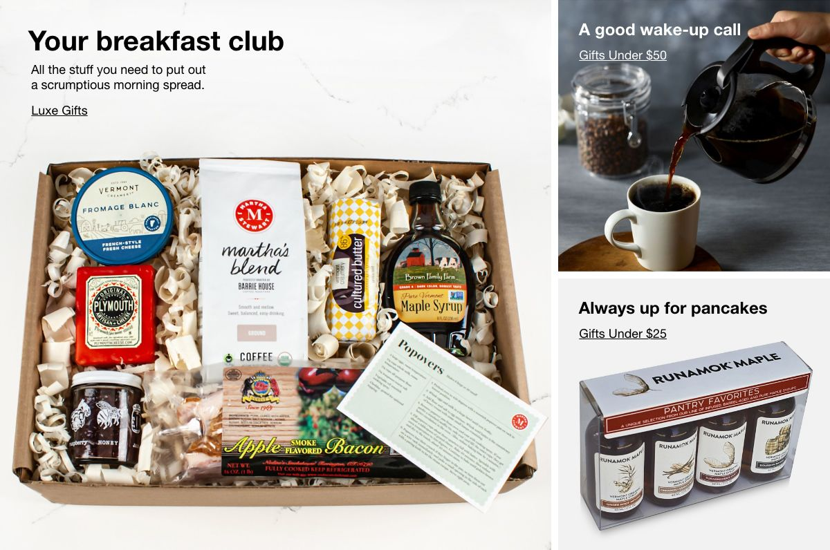 Your breakfast club, All the stuff you need to put out a scrumptious morning spread, Luxe Gifts, A good wake-up call, Gifts Under $50, Always up for pancakes, Gifts Under $25