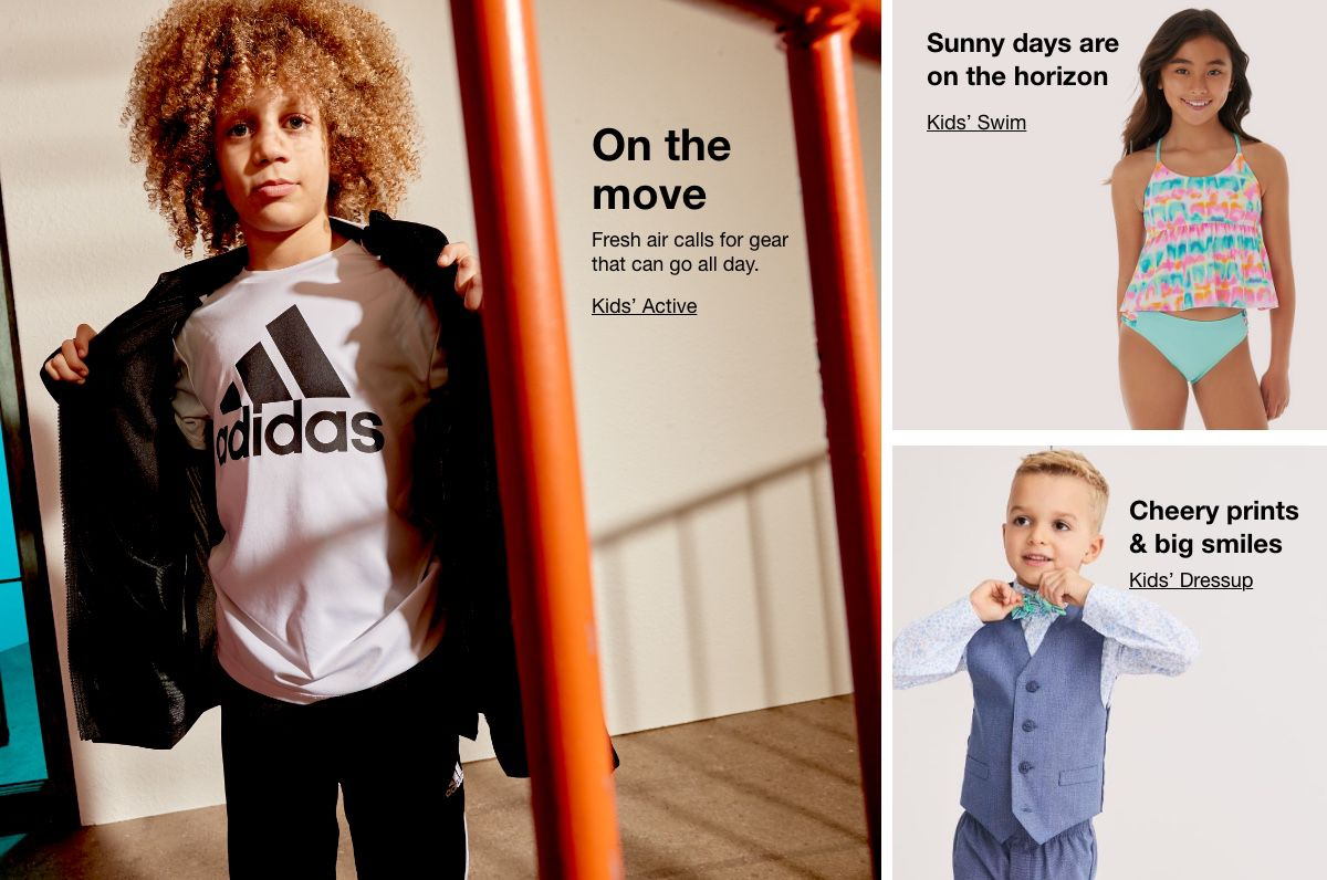 On The Move, Kids' Active, Sunny days are on the horizon, kids' Swim, Cherry prints and big smiles, Baby Dresswear