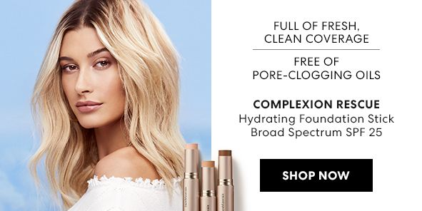 Full of Fresh, Clean Coverage, Free of Pore-Clogging Oils, Complexion Rescue, Hydrating Foundation Stick Broad Spectrum Spf 2, Shop Now