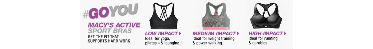 Goyou, Macy's Active Sport Bras, Get The Fit That Supports Hard Work, Low Impact, Ideal for yoga, pilates and lounging, Medium Impact, Ideal for weight training and power walking, High Impact, Ideal for running and aerobics